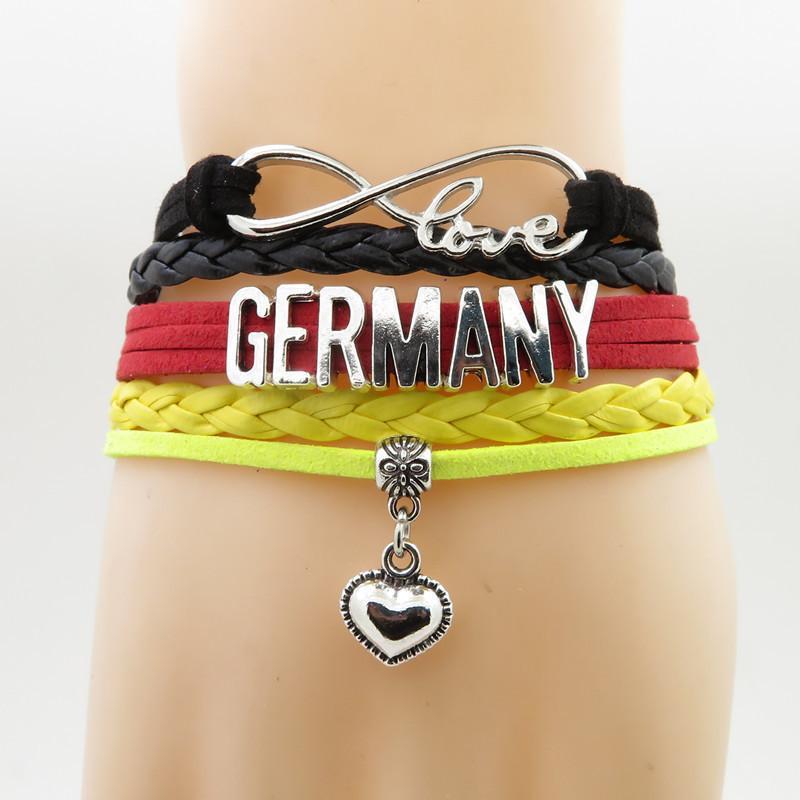 Infinity Love Germany Bracelet Heart Charm Love My Motherland Germany Flag Jewelry Bracelets & Bangles For Woman And Man