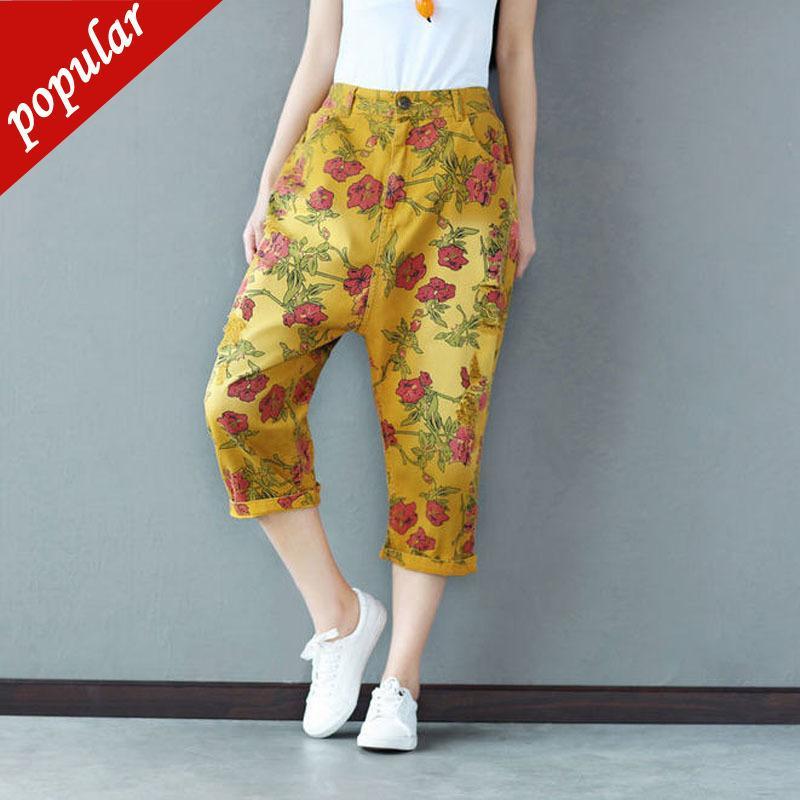 Novas Mulheres Moda Nacional Buracos de Vento Floral Impresso Denim Harem Pants Feminino Plus Size Solto Jeans Jeans Casual W1039