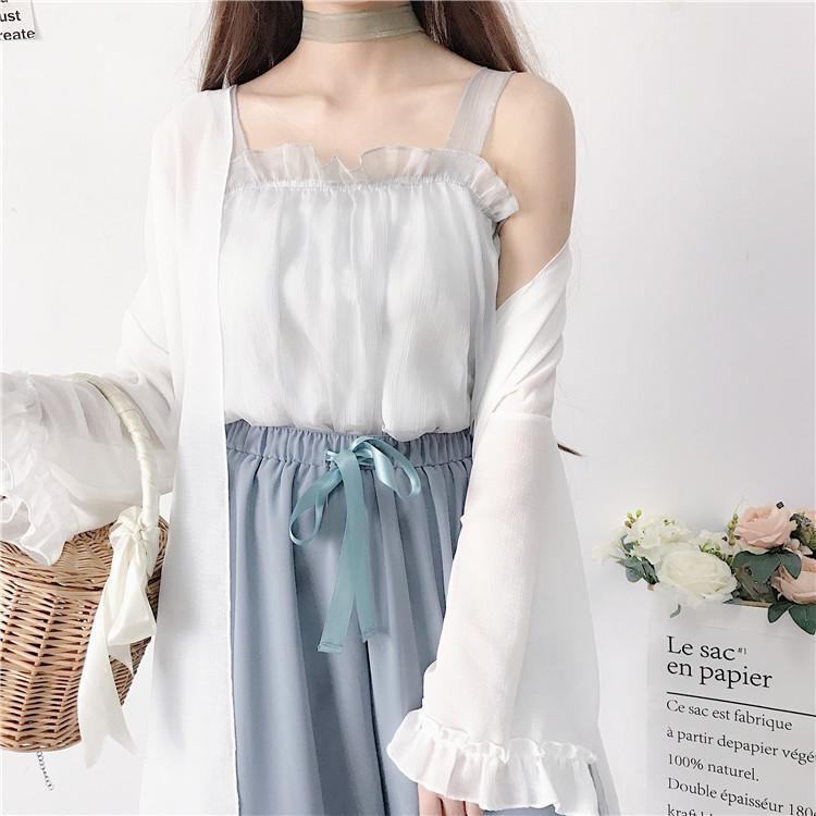 Mujer lindo sólido suelto Pantalones + blanco linterna de la manga / ahueca hacia fuera Cardigan + dulce de gasa / de punto ahueca hacia fuera Halter Tops verano