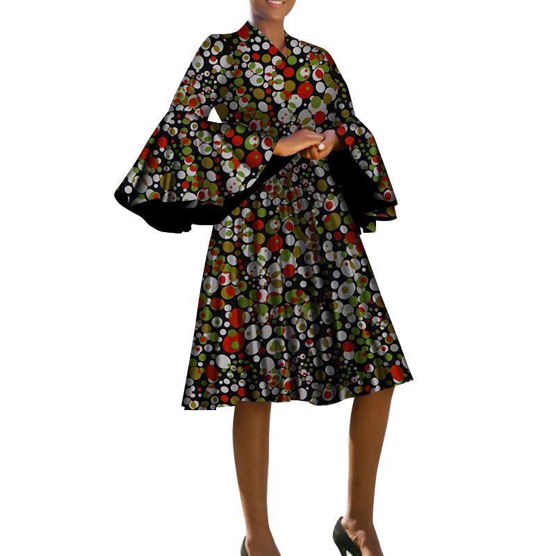 Лето африканская традиционная одежда для женщин v-образным вырезом африканское платье с принтом bazin с длинным рукавом африканская женская одежда нет wy4156