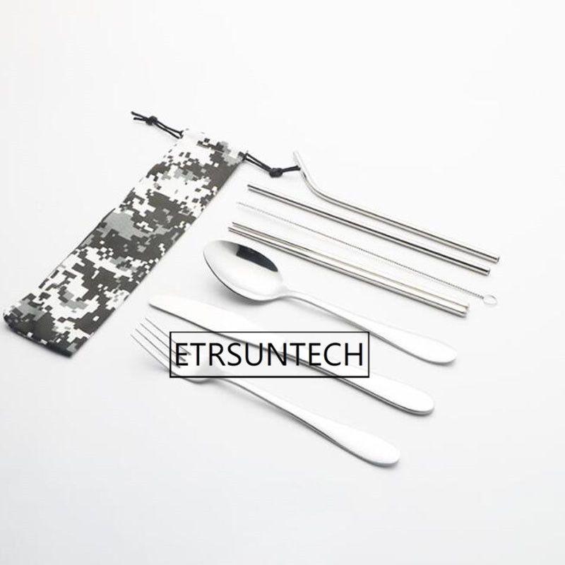 30наборы портативный нержавеющей стали ложки вилки палочками соломы открытый кемпинг посуда пикник посуда установить