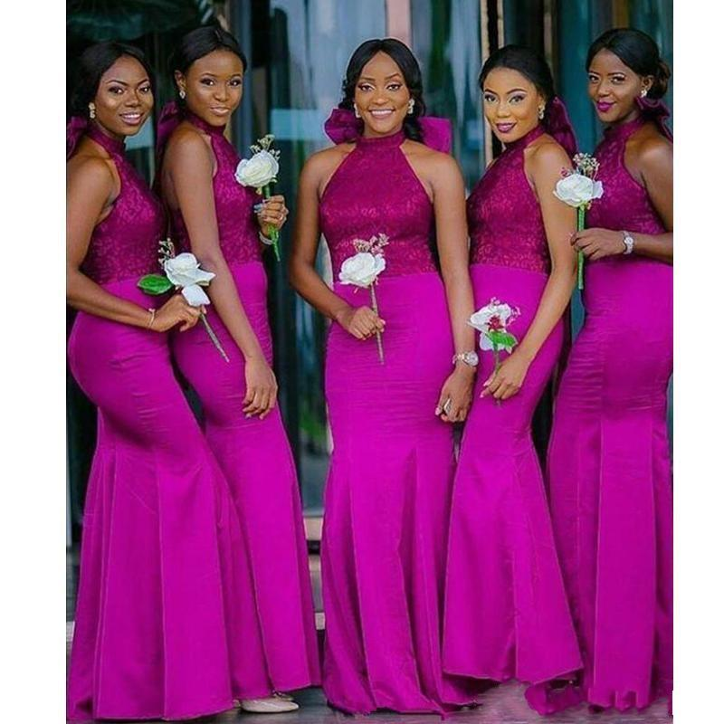 2020 Charming Mermaid Long Bridesmaid Dresses Fuchsia Halter With Bow Lace Top Satin Arabic Wedding Party Dresses Floor Length Formal Gowns