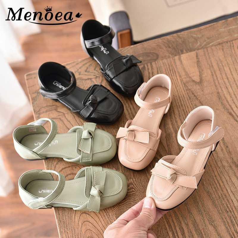 Sandals Menoea 27-36 Kids Girls Spring Shoes Summer Girl Casual Fashion Autumn Princess Bowtie Sweet Leather
