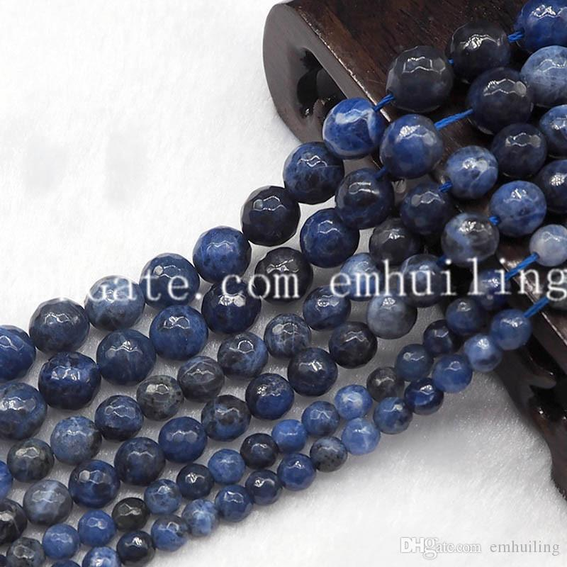 5 Strands High Quality in Faceted Round Sodalite Loose Beads Natural Blue-vein Stone Semi Precious DIY Beads 6mm 8mm 10mm for Jewelry Making