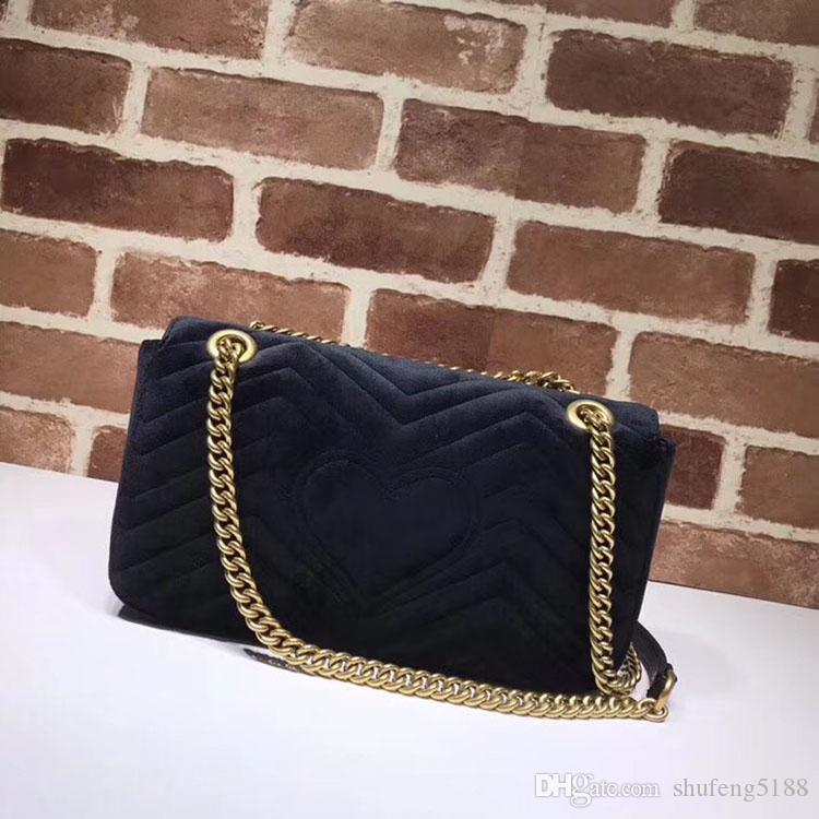 Classic Design Fashion Style Femmes Marmont Sacs à main en cuir velours véritable doublure en cuir chaîne Coeur Zip Porte-monnaie pour dames Sacs à bandoulière 443497