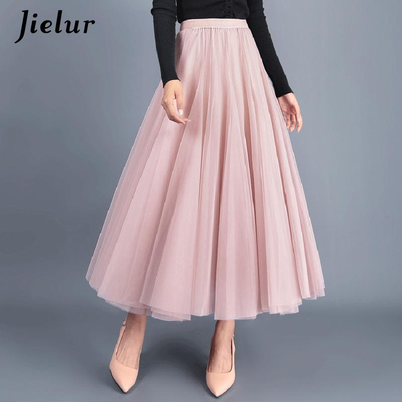 Jielur осень 3 слоя принцесса тюль юбки старинные сплошной цвет сетки юбка женщин плиссированные линии Saia женские юбки юбка пачка SH190824