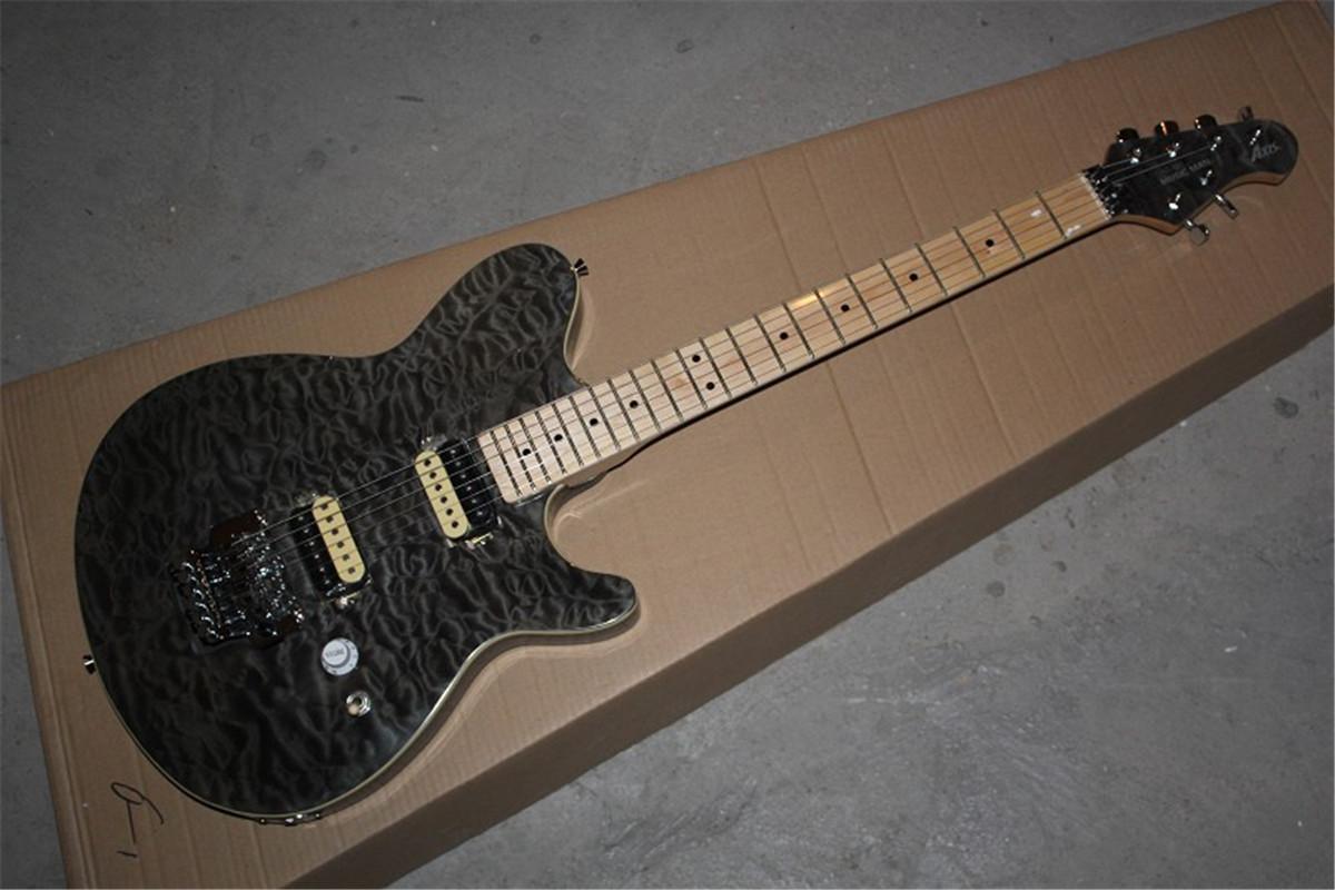 frete grátis HOT atacado personalizado de alta qualidade guitarra Ernie Ball assinatura Music Man Preto tigre estourar guitarra elétrica