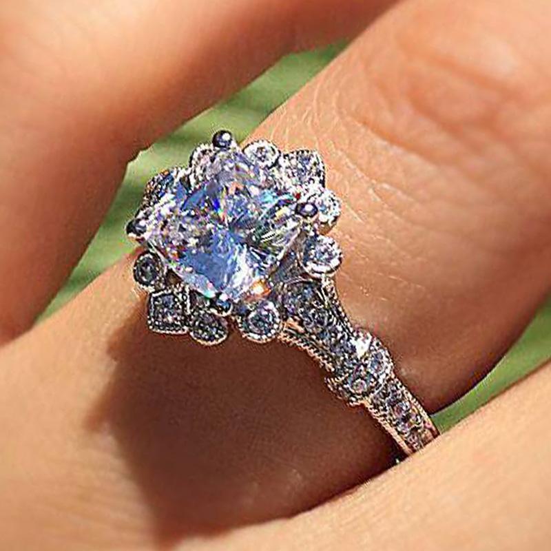 Gioielli Huitan nozze donne di etnia Piazza zircone anello di disegno del fiore romantico anello nuziale Partita vestito da sarchiatura Amore Token Promessa