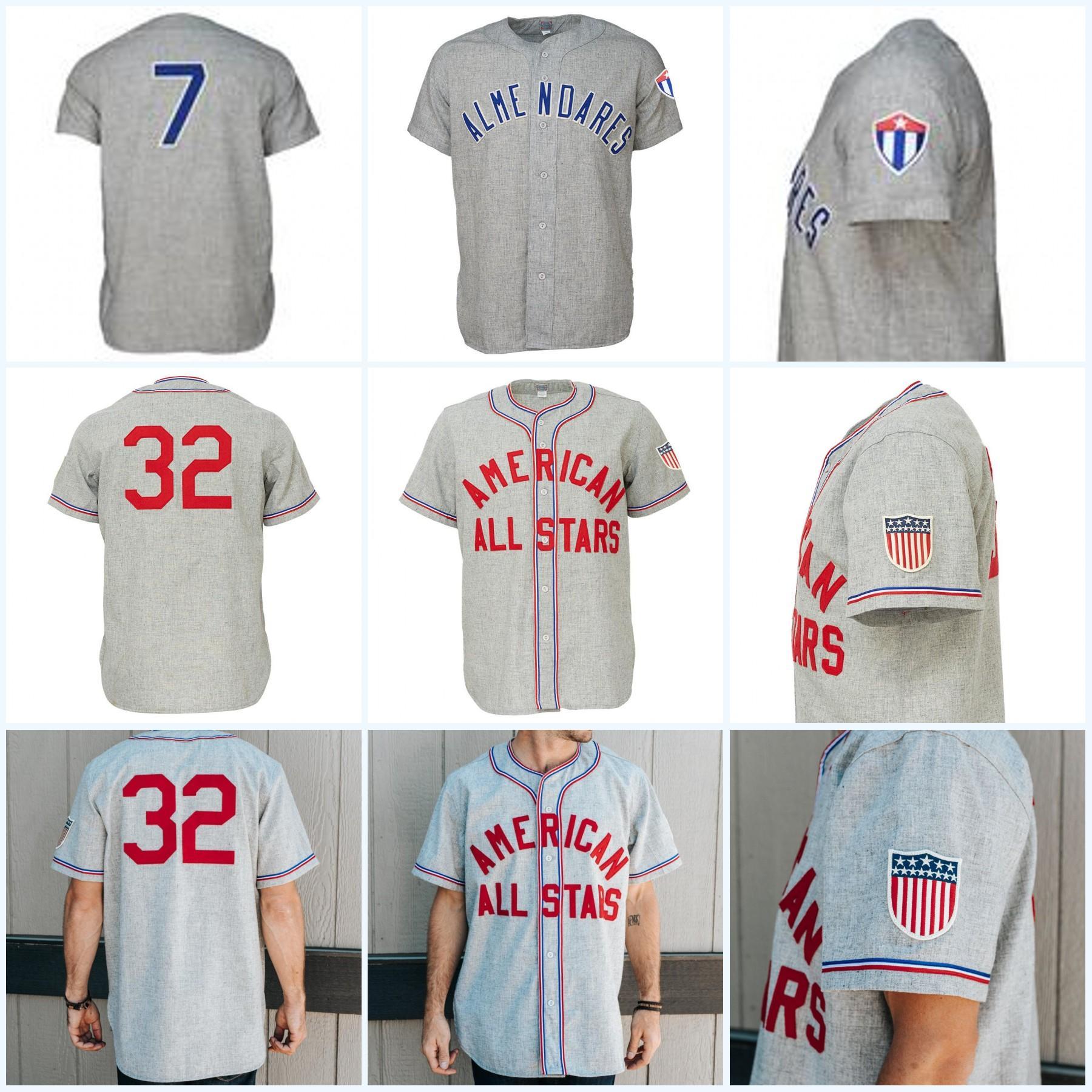 أمريكا كل النجوم 1945 الطريق جيرسي ألمينداريس Alacranes 1949 الطريق البيسبول جيرسي جميع مخيط التطريز للرجل إمرأة الشباب
