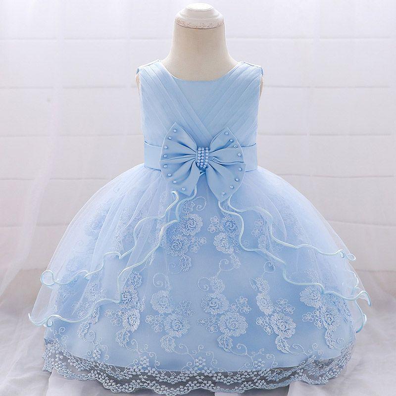 ragazze di estate Vestido vestono 0-2 anni i bambini vestito di compleanno perline arco neonate partito Princess Tutu abbigliamento L1869XZ