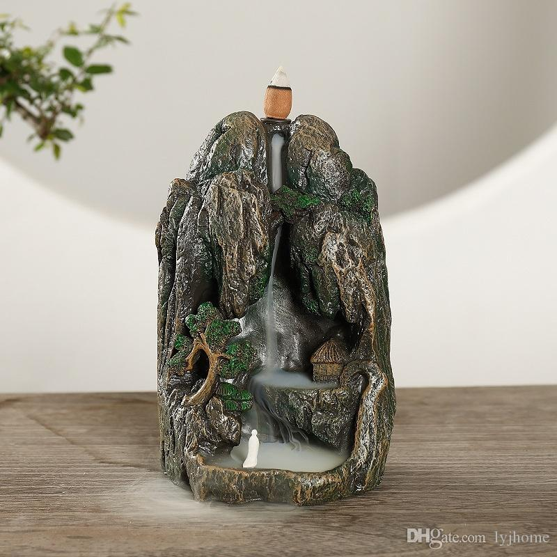 Manzara mobilya zanaat hediyeler + 30 Koniler fırın aromaterapi tütsü brülör yaratıcı reçine geri akışı aromaterapi akış ters şelale