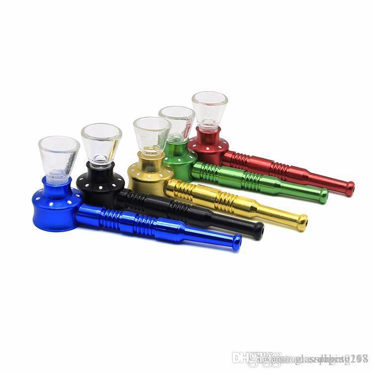 Molti vetro di colore fumo di metallo tabacco da pipa mini vetro a basso costo tubo asciutto erba mano di fumare in vendita