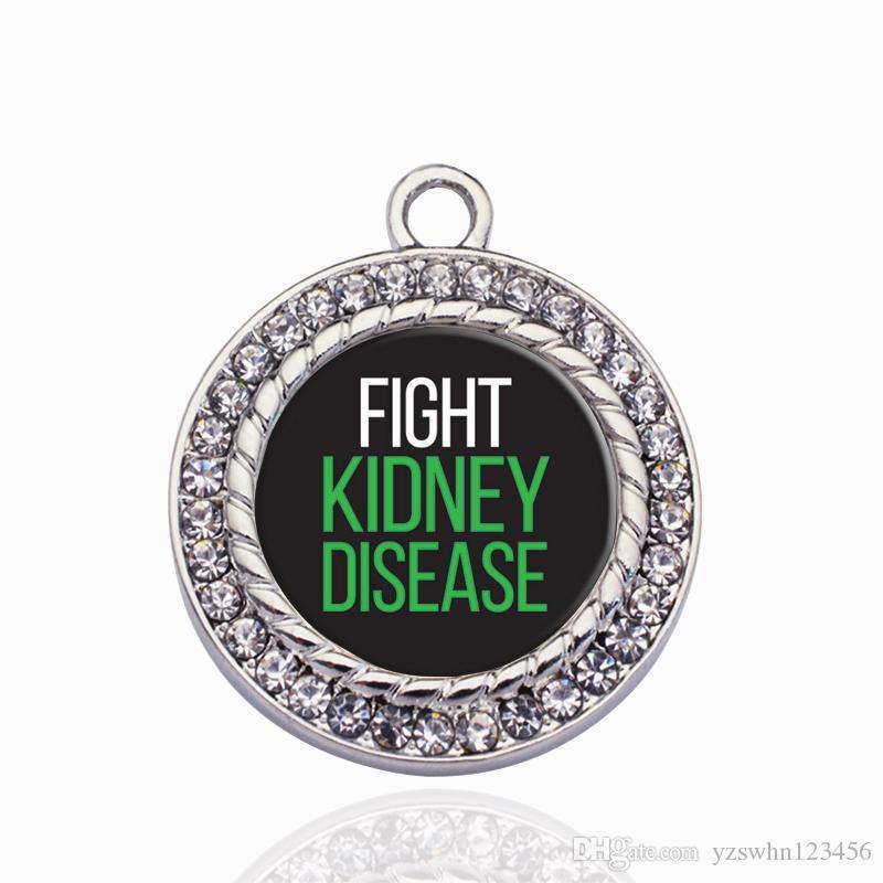 Lucha contra la enfermedad renal Círculo Charm Charms colgantes de aleación colgante aptos para mujeres pulsera collar accesorios de la joyería que hace