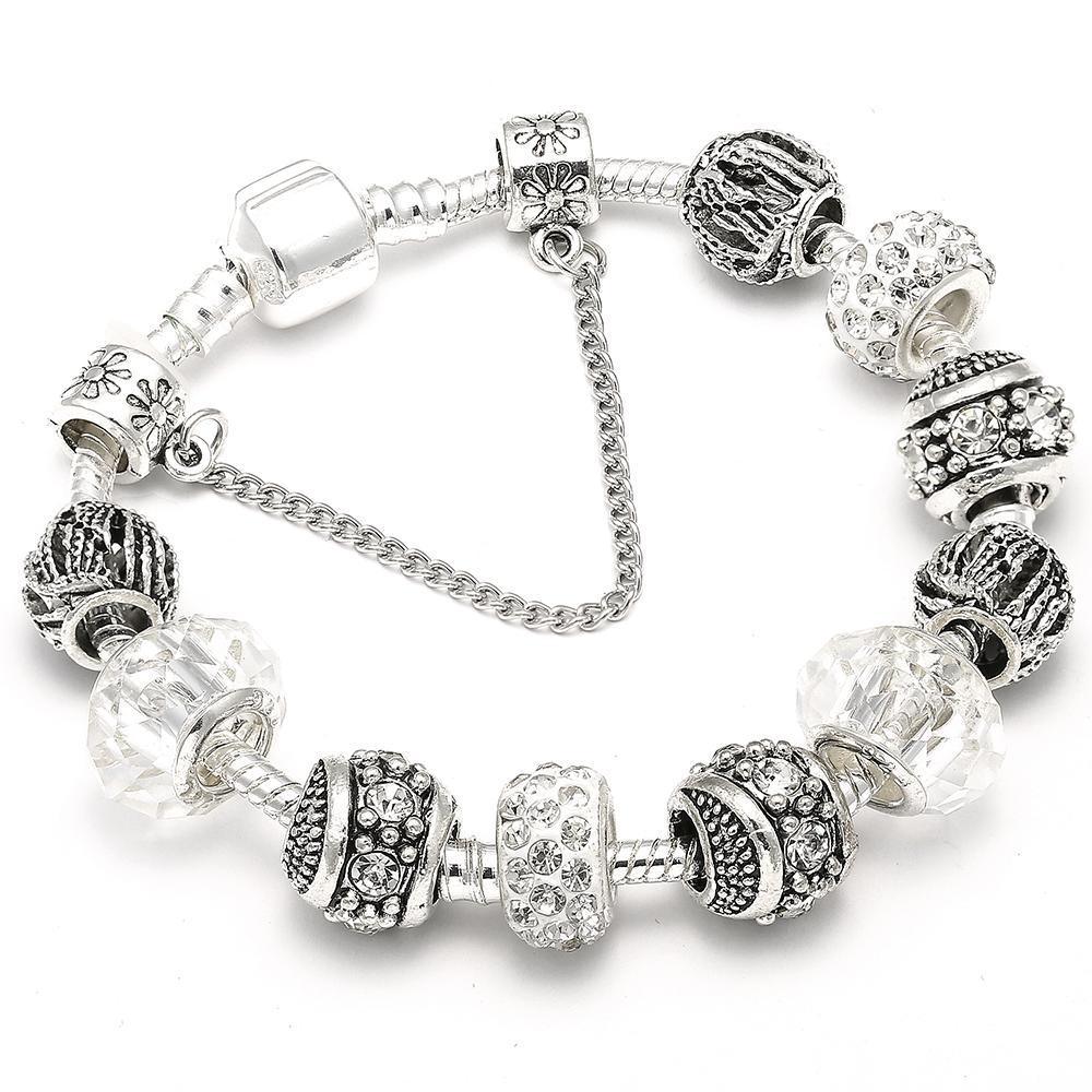 Pulsera Pandora con brazalete de plata antigua con bola de cristal azul, regalo de boda para el día de la madre