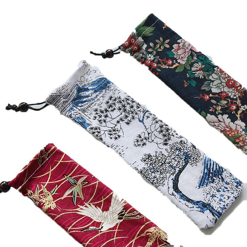 Estilo japonés vajilla portable almacenamiento bolsa de mano con cordón de viajes Bolsa de transporte para paja Cubiertos Cuchara 50pcs