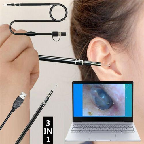 3IN1 والأذن تنظيف التنظير USB و 5.5mm البصرية بيك أب الأذن HD كاميرا ملعقة منظار الأذن