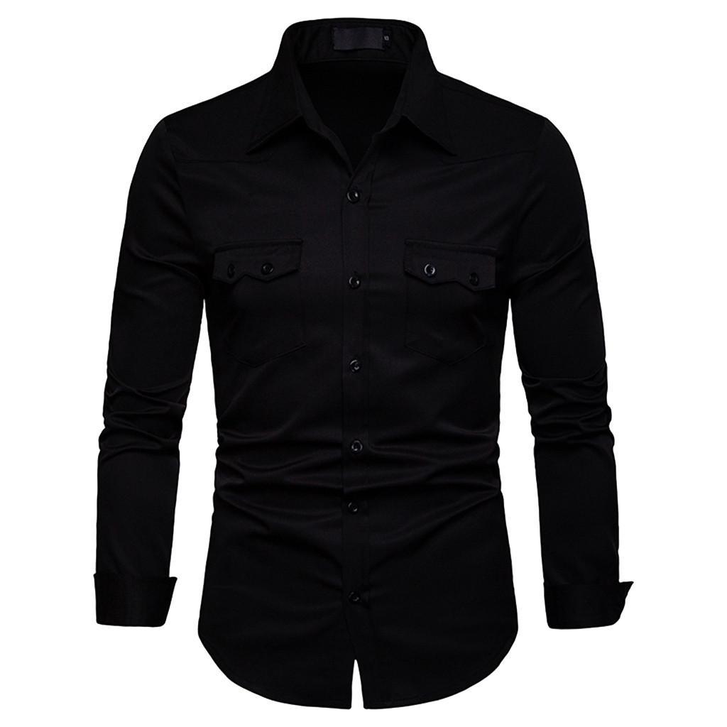 FeiTong Spring Shirt Of Men Long Sleeve Shirts Plus Size Casual Mens Clothing 2019 Hawaiian Shirt For Men British Style E19125