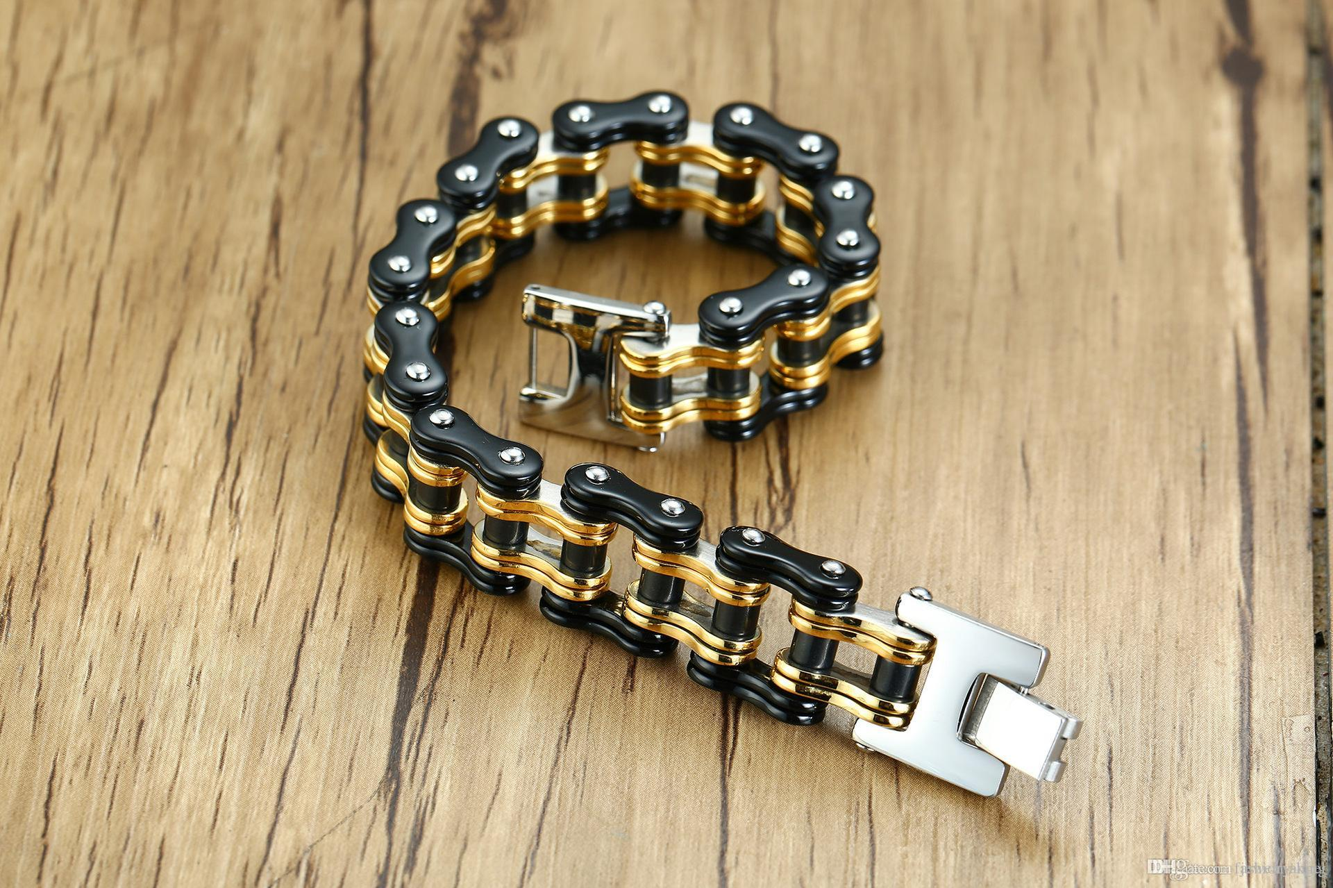 Top quality mixed order brand new men's stainless steel bicycle-style bracelets fashion accessaries motor chain bracelet body jewellery