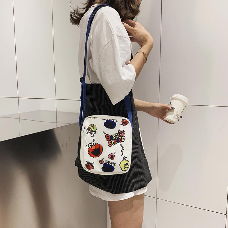 Завод прямой сумка мультфильм моды женщина ребенок холщовый мешок на открытом воздухе путешествие пакет небольшой плечо телефон