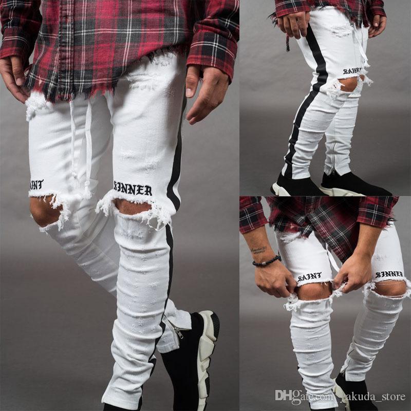2019 Moda Masculina Calça Jeans Hip Hop Legal Street wear Motociclista Zíper No Tornozelo Branco Skinny Jeans Slim Fit Mens Roupas Lápis Jeans