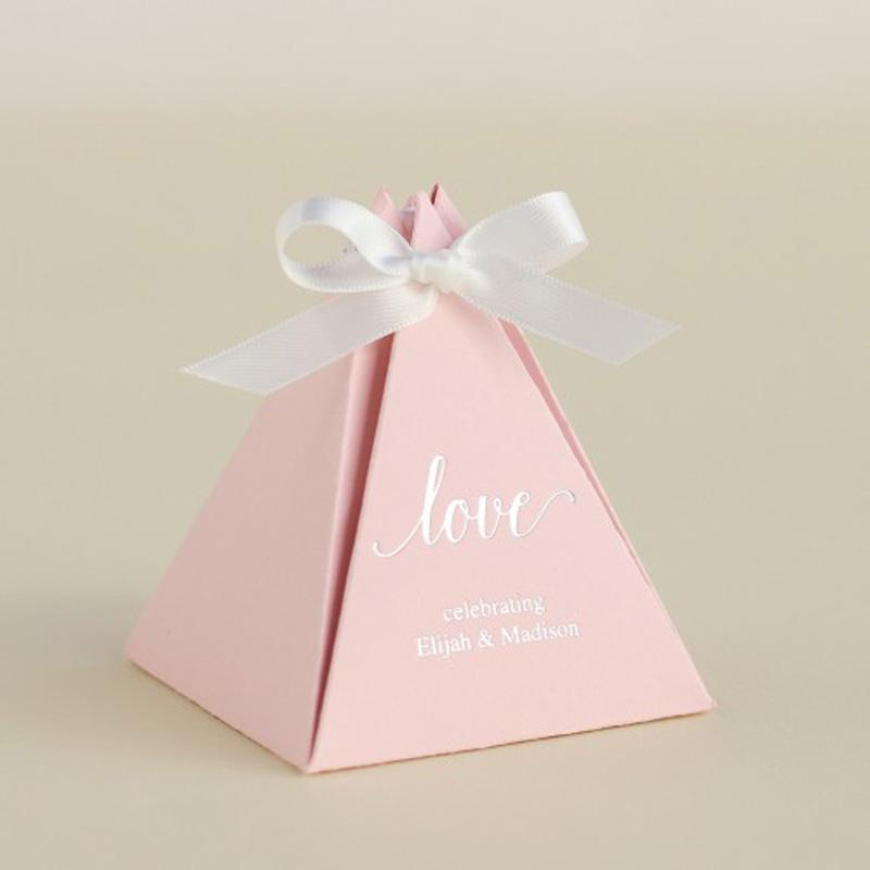 пользовательские пирамиды бумага белой синяя розовая конфет коробка коробка подарки для свадьбы ребенка дня рождения свадебного душа партии гостей оптовых