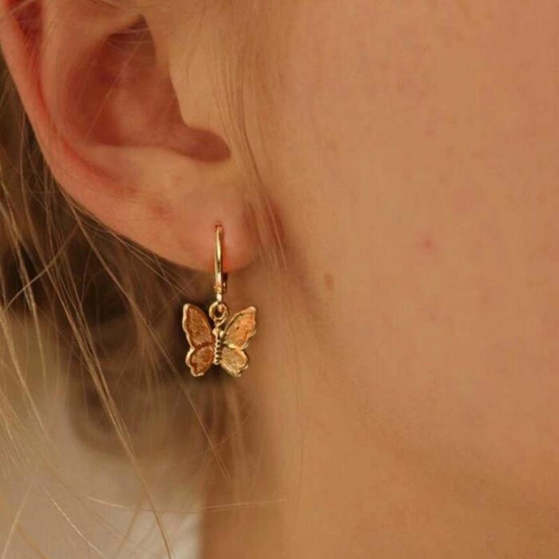 Подвеска бабочка цвета золота животных Хооп серьги MaButterfly серьги для женщин шарма год сбора винограда кольца уха подарка ювелирных изделий