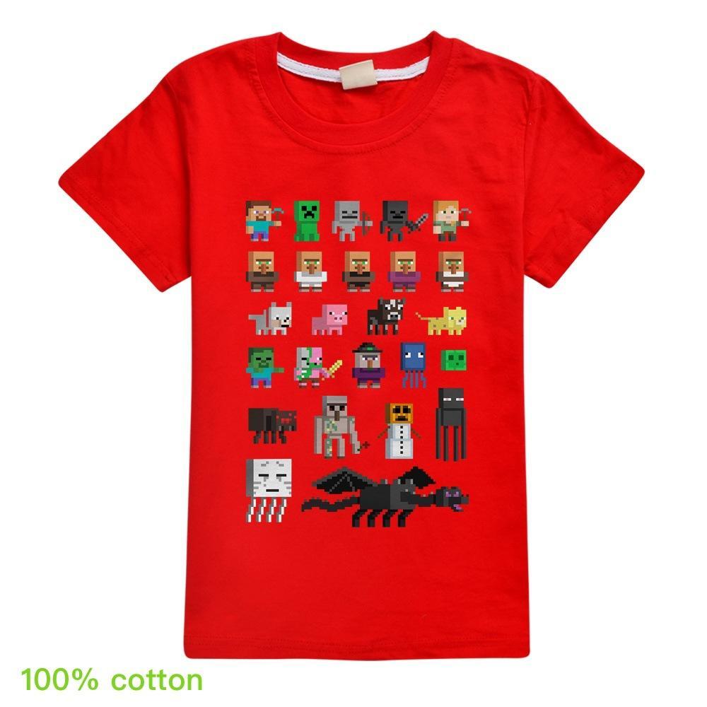 2020 coton Minecraft Minecraft tops les garçons et les filles des enfants à manches courtes T-shirt T286 bébé top manches courtes 2-16year