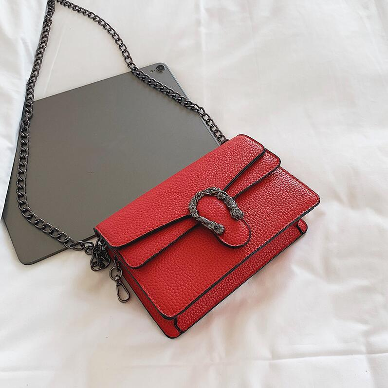 Top selling Designer fashion Factory wholesale women handbag western style red with women chain bag fashion leather messenger bag Joker leat
