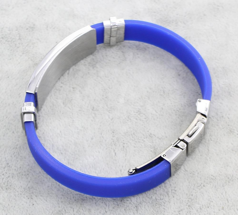 Bijoux Bracelet en acier inoxydable de couleur en silicone Charms ton argent Bangles Bracelets Cadeau pour Homme punk rock Simple cadeau