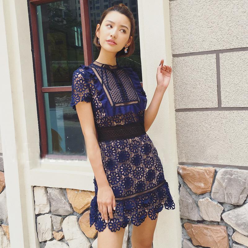 Pizzo Abito moda elegante di lusso di estate del nodo dell'arco primavera dei vestiti da donne Self portrait