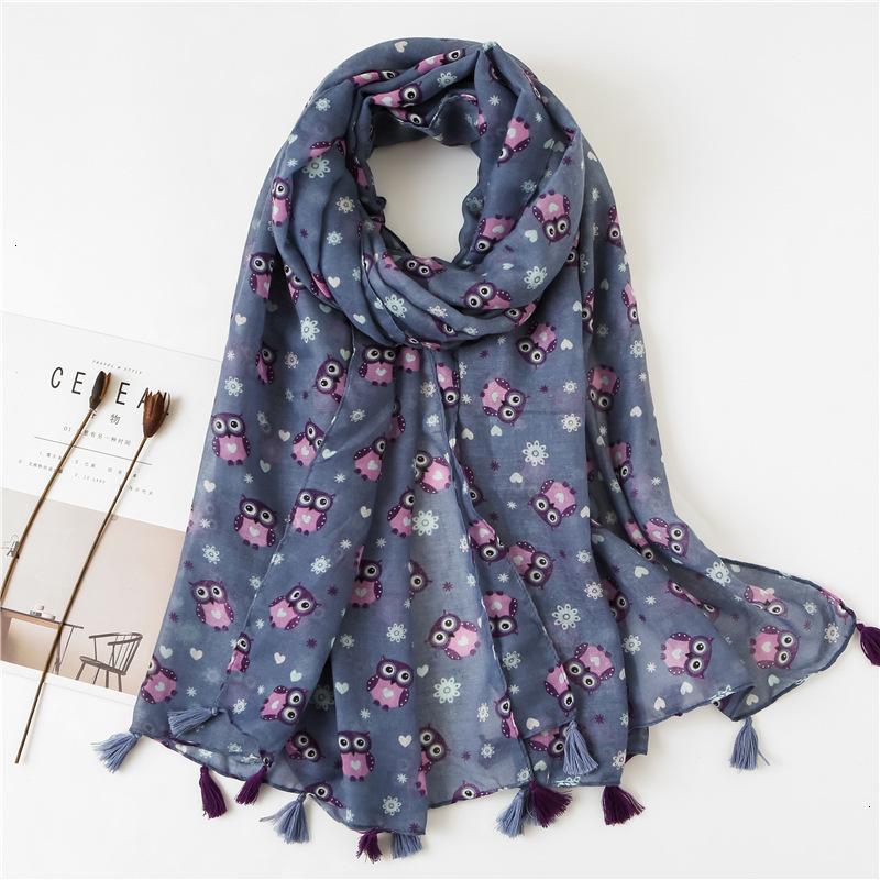 Punteada fresca del búho del otoño Una impresión del algodón de la bufanda Manual de Turismo de las borlas del mantón de la manera caliente WomanNew