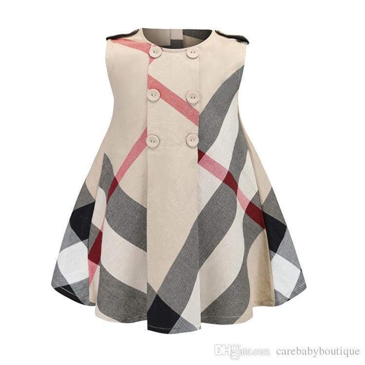 Vestido de la ropa de la muchacha del INS Venta caliente 4 colores del verano de las muchachas sin mangas del vestido del algodón de alta calidad de los niños grandes del vestido de la tela escocesa envío libre