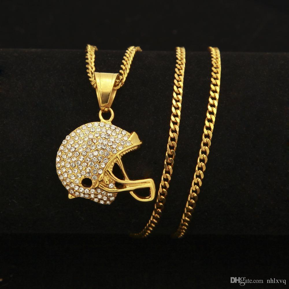 Nueva moda de acero inoxidable chapado en oro Bling Diamond casco de motocicleta colgante para hombre collar Hip Hop Raper joyería regalos para hombres en venta