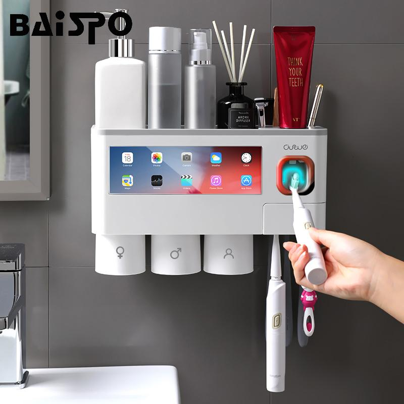 BAISPO Magnetic Adsorption Toothbrush Holder Automatic Toothpaste Dispenser Plastic Wall Mount Storage Rack Bathroom Accessories Y200407