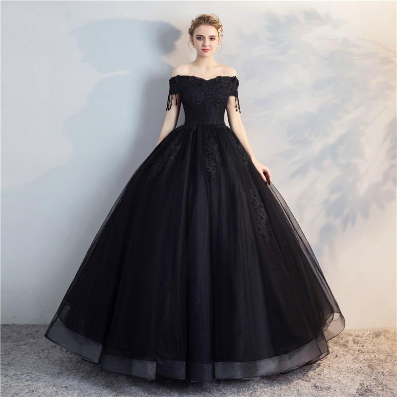 Compre Vestido De Noiva Apliques Flores De Encaje Princesa Vestidos De Novia Cuello De Novia Vestido De Fiesta Vestido De Novia Negro A 16684 Del