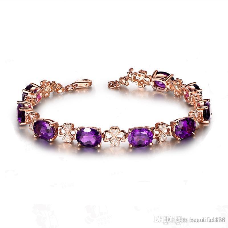 Luxus 18 Karat Gold Farbe Natürliche Lila Kristall Qualität Vier Blatt Armband Oval Zirkonia für Frauen Geschenk Schmuck Großhandel