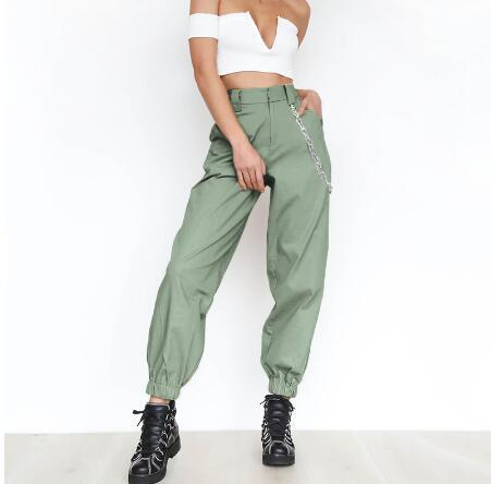 Fashion-Khaki cargo pants with chain Women cool trousers Black white female street wear Casual autumn summer casual thin pants outwear
