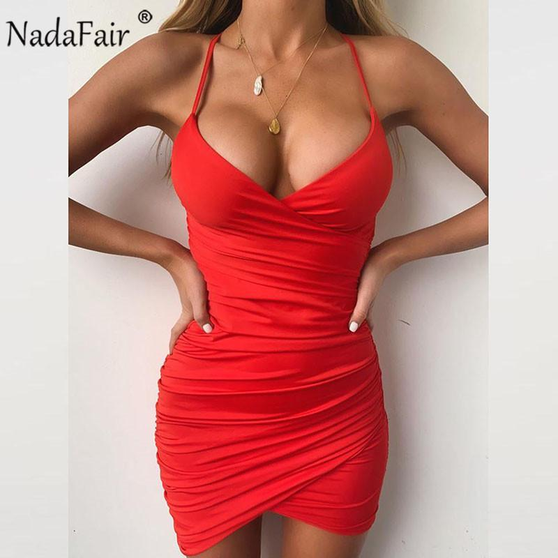 Deep V Hals Club Sexy Bodycon-Kleid Frauen Ruhn Backless Cross Red Black Party Bandage Mini Sommerkleid Vestidos