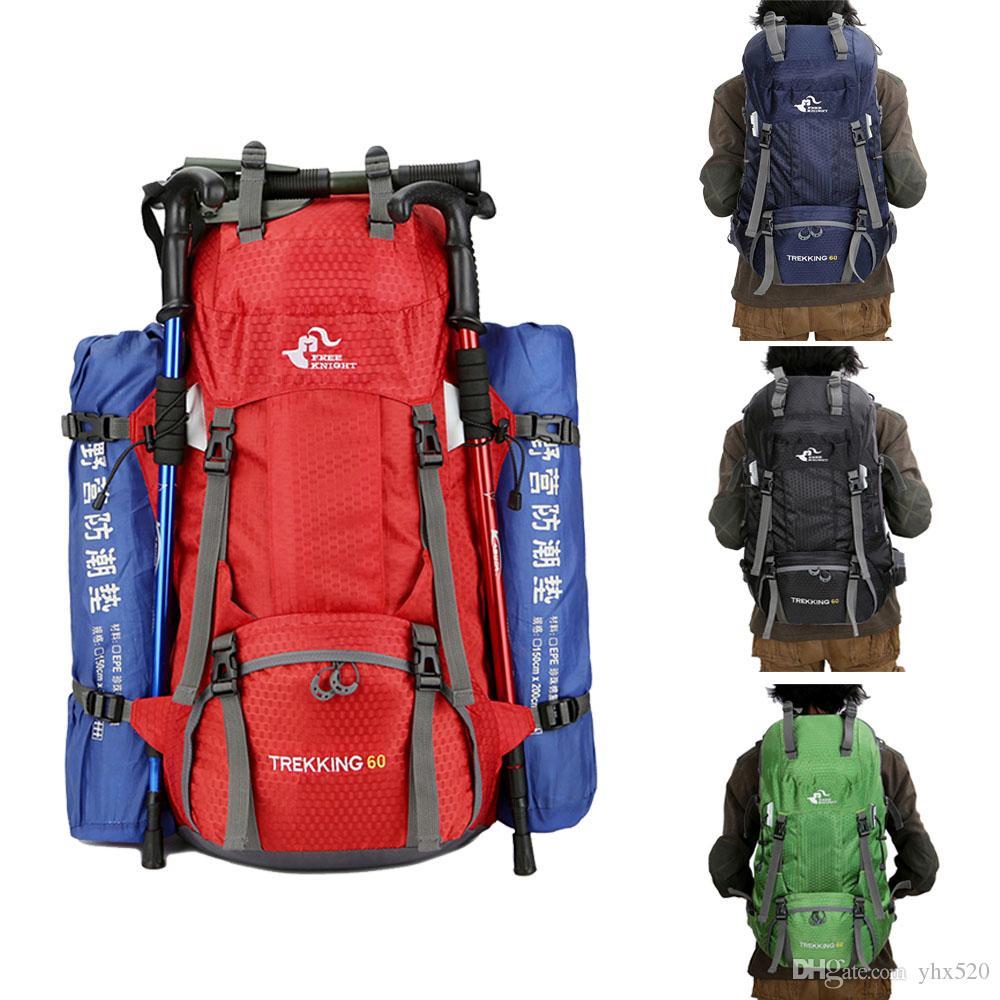 Viajes 50L 60L que va de excursión a prueba de agua bolsa de la mujer al aire libre Trekking Mochila hombre del ejército Caza Montaña Mochilas Mochila cubierta de la lluvia