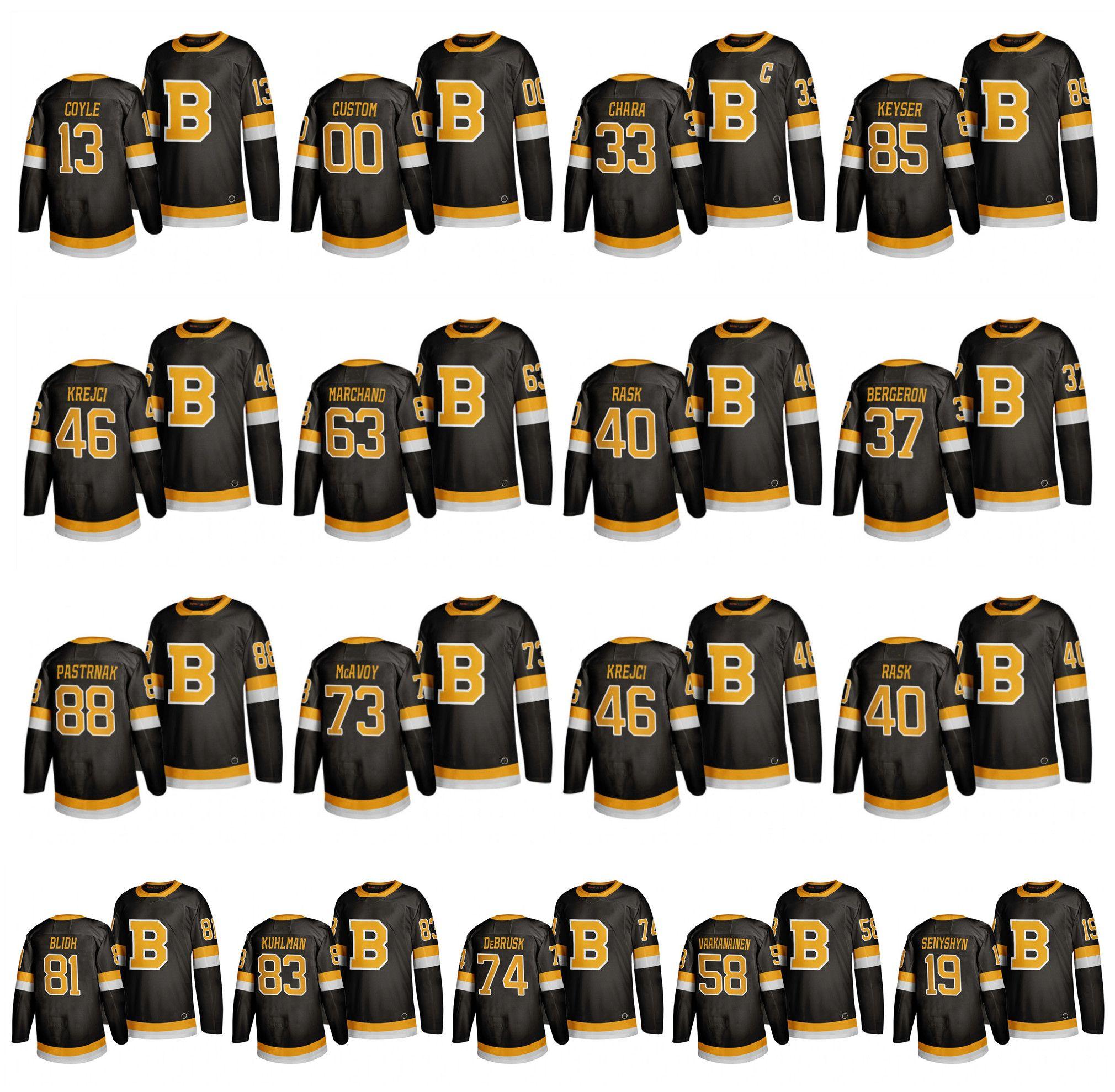 Terceira camisa do Boston Bruins 33 Zdeno Chara 37 Bergeron Torey Krug 63 Brad Marchand 86 Kevan Miller 88 David Pastrnak 40 Tuukka Rask Hockey
