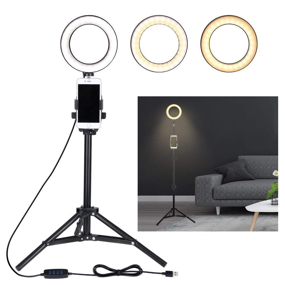 Selfie Ring Light مع حامل حامل الهاتف الخليوي ترايبود للتيار المباشر / ماكياج، مصغرة LED كاميرا Ringlight