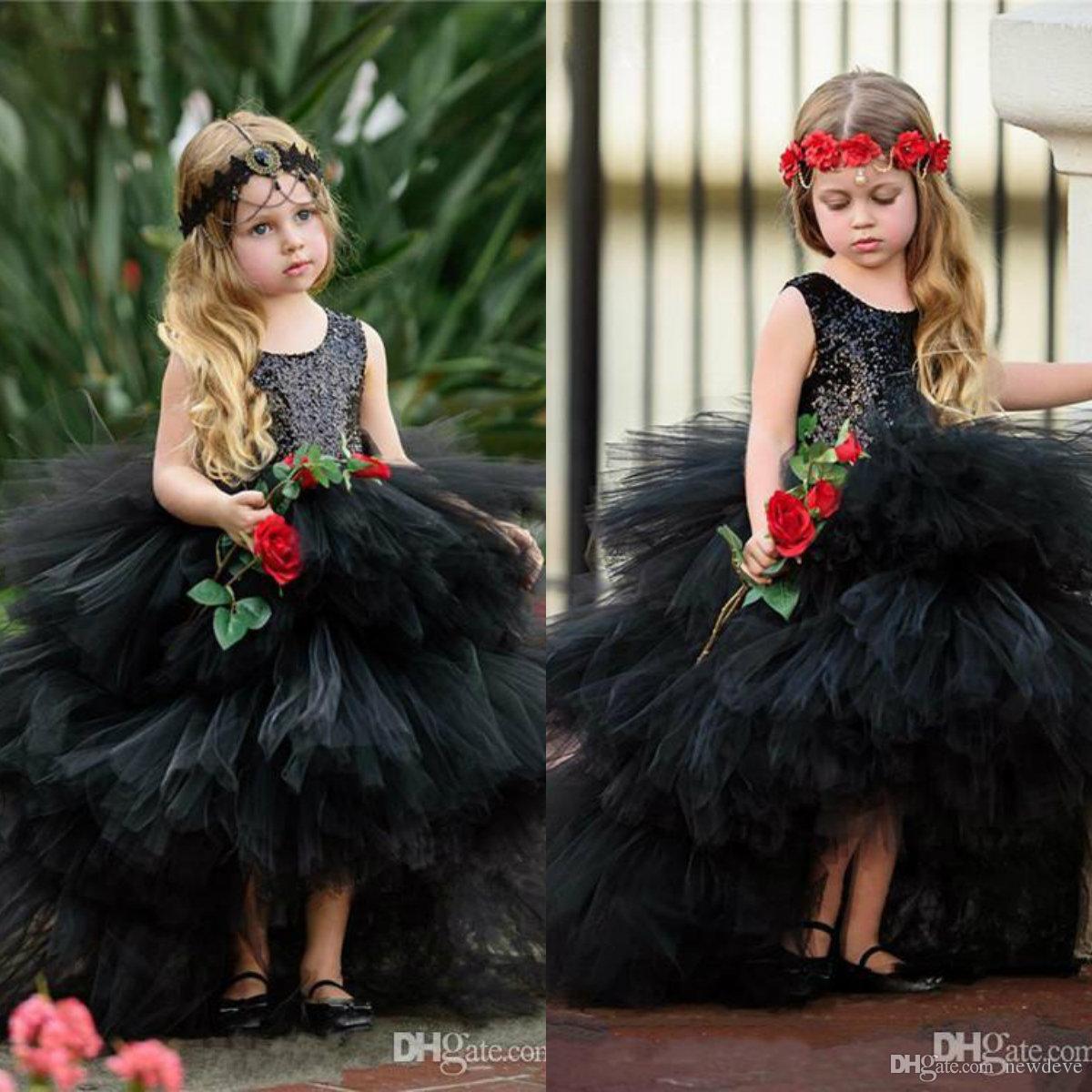 2020 abiti da ragazza di fiori carini abito da ballo senza maniche lunghezza pavimento abito da spettacolo per ragazze con paillettes a strati in tulle per matrimonio