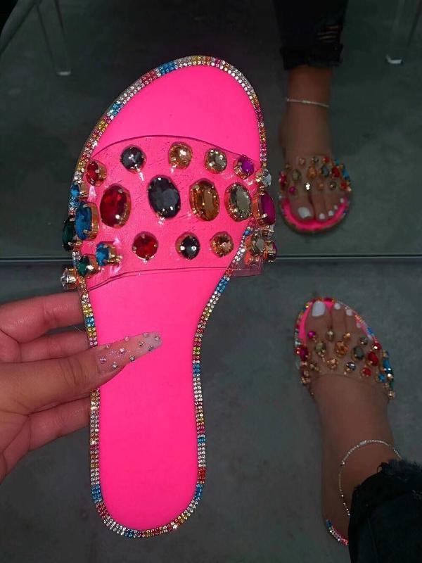 Slides Donne Flip Flops Scarpe Pantofole Gemstone Strass scarpe dei sandali signore diapositive selvaggio diamante pantofole Chanclas Mujer2020