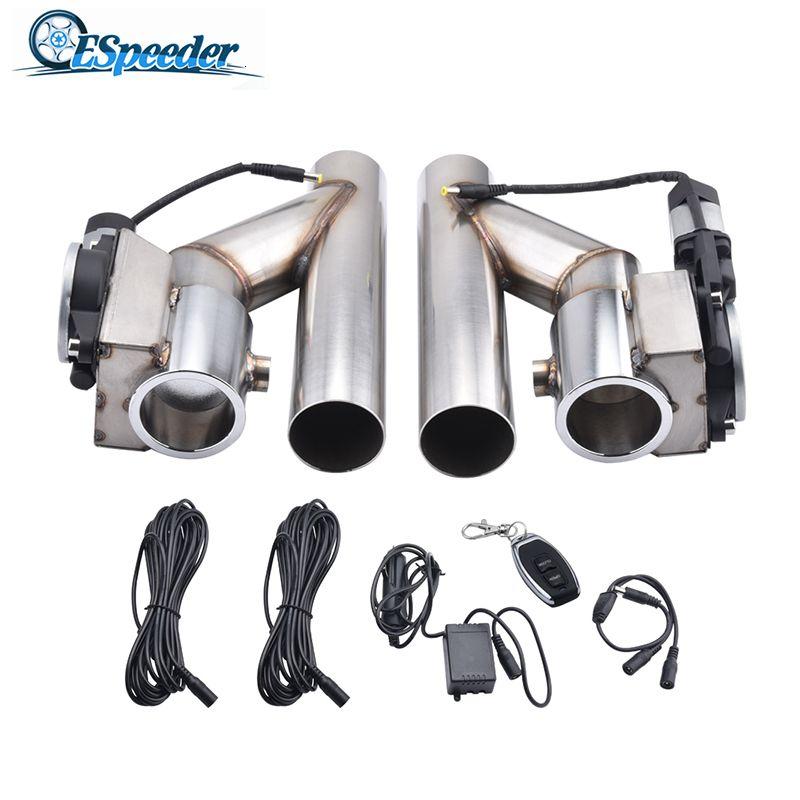 2.0 '' 2.5 '' 3.0 '' Edelstahl-Headers Y Rohr Elektroauspuff-Ausschnitt Kit E-Cut Out Zwei-Ventil 1 in 2 Fernbedienung Exhaust