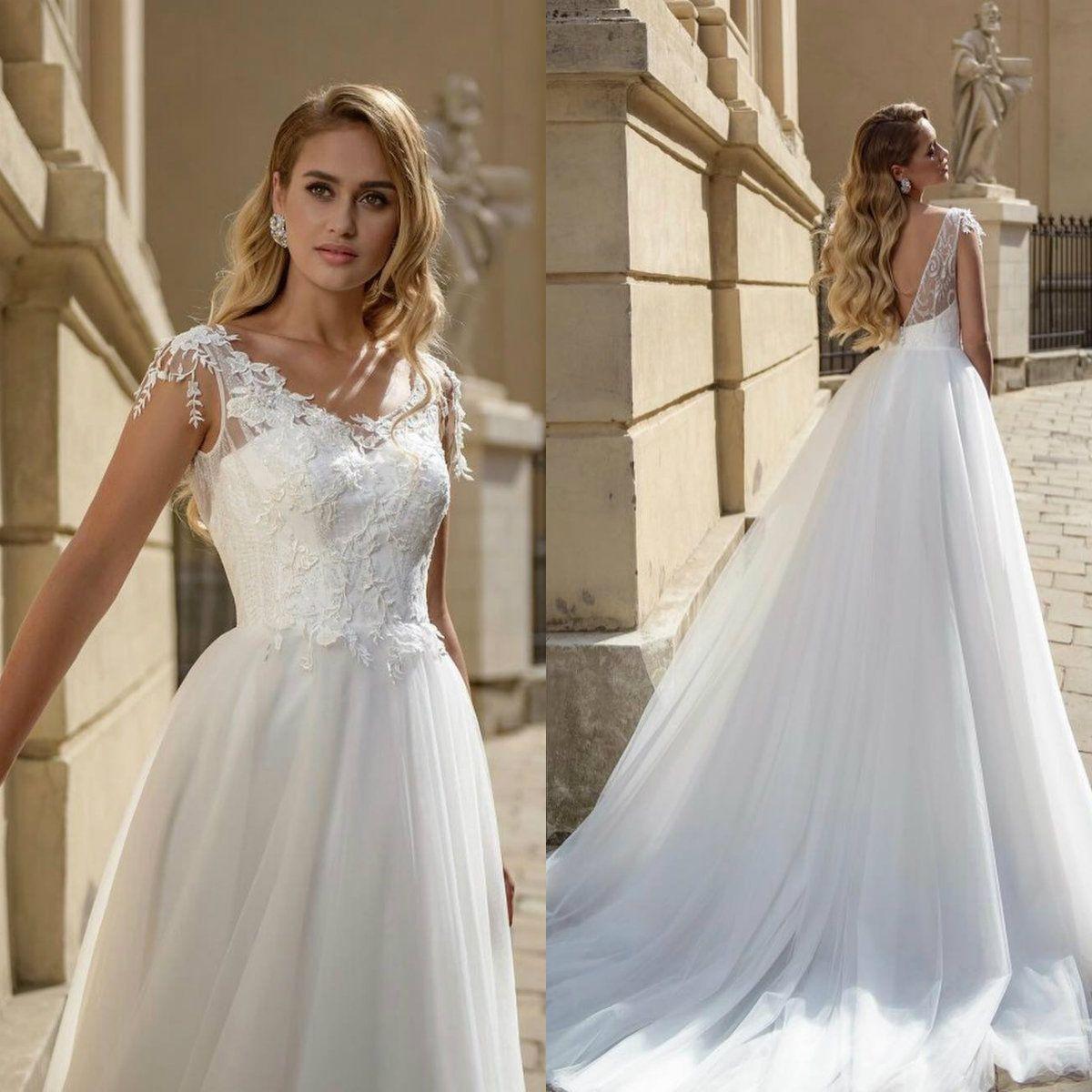 2020 A Line Vestido de Noiva mangas Backless Applique vestidos de casamento Tulle Sweep Trem Boho vestidos de noiva