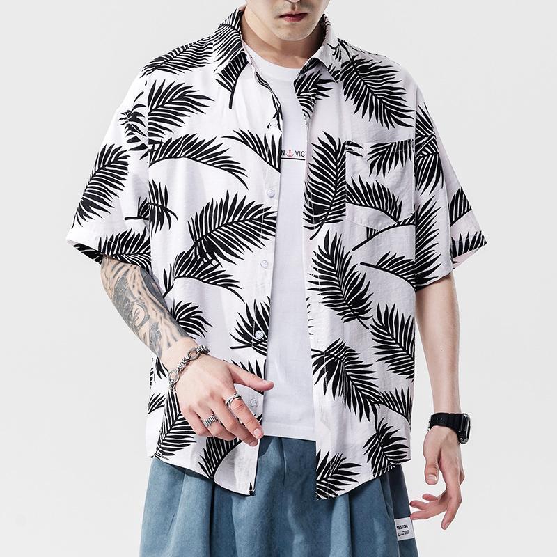 Moda Gevşek Çiçek Baskılı Gömlek Erkek Tatil Tatil Gömlek Hawaii Plaj Gömlek Homme Yaz Casual Giyim Üst Boyut S-5XL