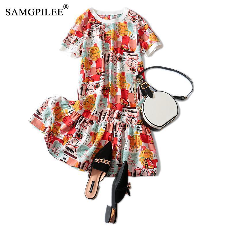 Plus Size Women Clothing Casual Trumpet Mermaid Print Summer Dress Knee-length Empire O-neck Vestido De Mujer Dresses For Women