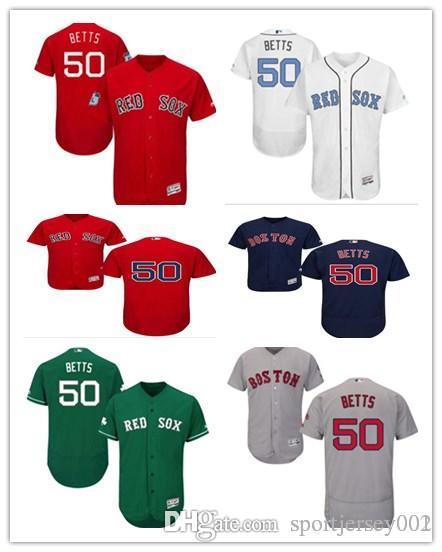 Compre Boston Red 2019 Hombres Mujeres Juvenil Medias 50 Mookie Betts  Majestuoso Negro Alternativo Auténtico Flex Base Camisetas De Béisbol