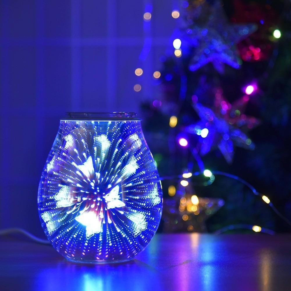 Oil Diffuser Electric Candle Warmer Glass Tart Burner 7 Color Butterfly Effect Night Light Wax Melt Warmer Aroma Decorative