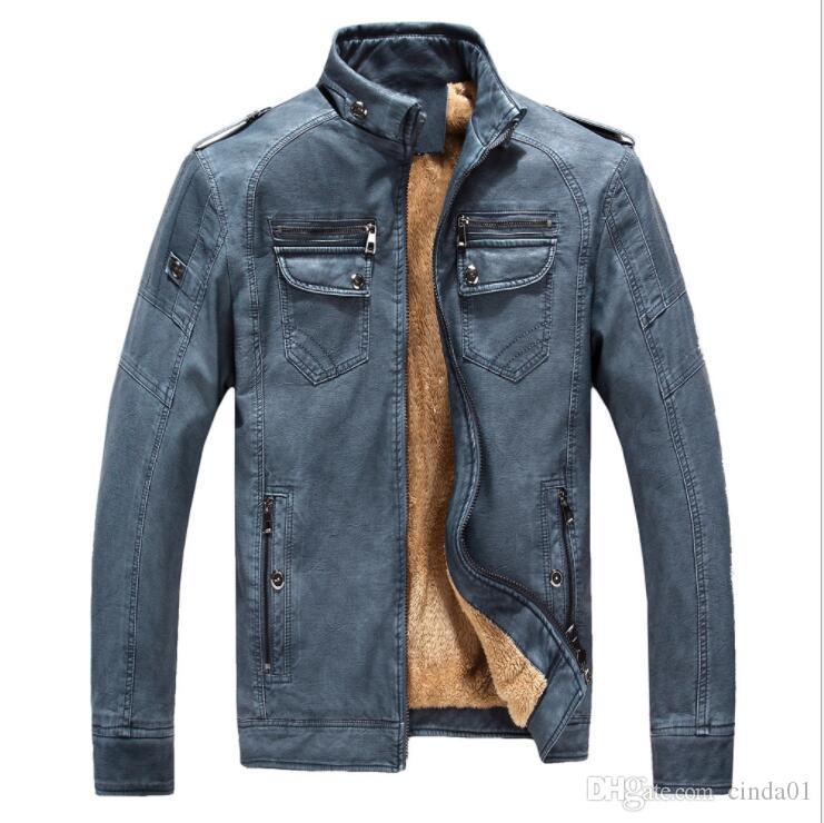 Jaquetas dos homens Homens Faux Jaqueta de Couro Com Zíper Full Grosso Fured Collar PU Inverno para Homens
